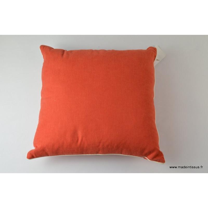 Housse pour coussin 40x40 polyester lin coloris tomette for Housse de coussin 40 x 40
