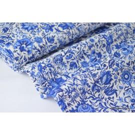 Popeline coton élasthanne lierre bleu x50cm