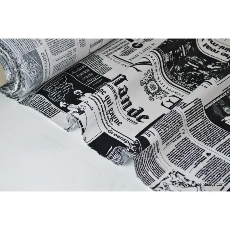 Tissu imperm able tanche imprim journal x50cm made in tissus - Tissu imprime journal ...
