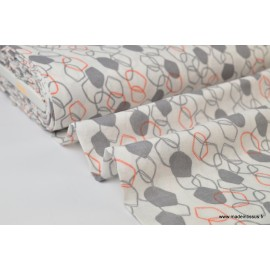 Double gaze coton imprimé Maillons Corail et gris .x1m