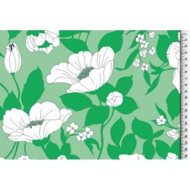 Tissu Viscose fluide fleurs vert .x1m