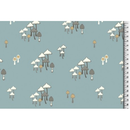 Jersey BIO imprimé forêt de champignons bleu