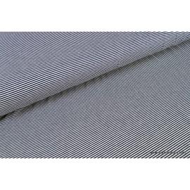Tissu jersey tissé petite rayure marine et blanc .x1m