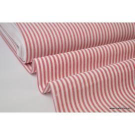 Popeline coton rayures rouges et blanches tissé teint .x1m
