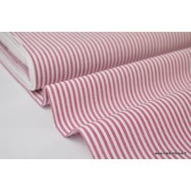 Popeline coton rayures cerise et blanc tissé teint .x1m