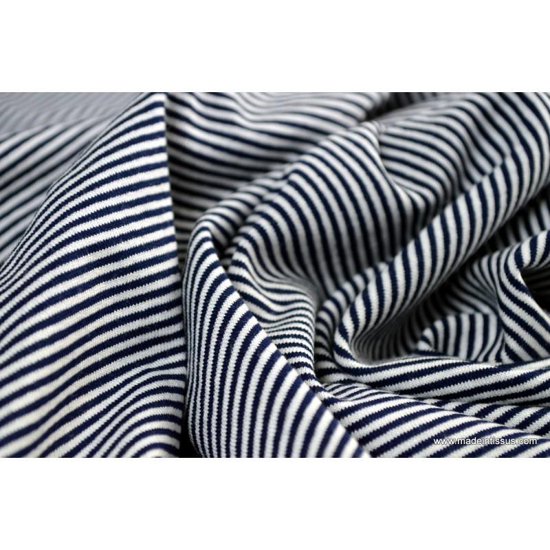 tissu jersey tiss petite rayure marine et blanc x1m made in tissus. Black Bedroom Furniture Sets. Home Design Ideas