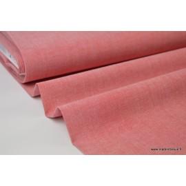 Tissu popeline coton uni tissé teint chambray coloris Rouge x1m