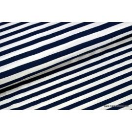Tissu jersey tissé rayure marine et blanc x50cm