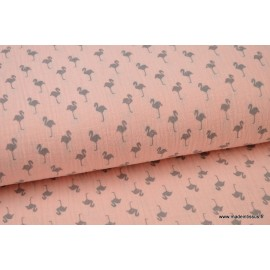 Double gaze Oeko tex imprimée Flamants gris sur fond rose x1m
