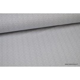 Tissu Popeline coton Oeko tex imprimé écailles grises .x1m