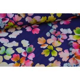 Tissu satin fluide fleurs multi .x1m