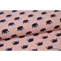 Tissu Microfibre Pearl Peach imprimé éléphants bleu marine sur rose .x1m