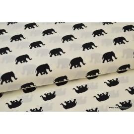 Tissu Microfibre Pearl Peach fluide imprimé éléphants noir sur blanc .x1m