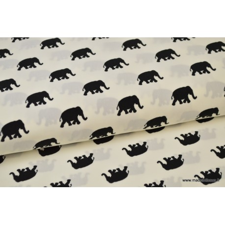 Tissu Viscose fluide imprimé éléphants noir sur blanc .x1m
