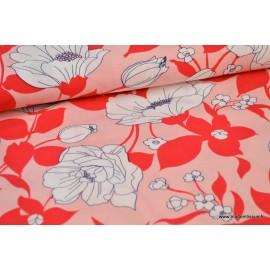 Tissu Viscose fluide fleurs rouges .x1m