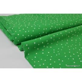 Tissu Viscose fluide imprimée pois Vert .x1m