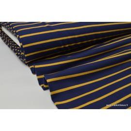Tissu Jersey Oeko tex à rayures bleu marine et moutarde .x1m