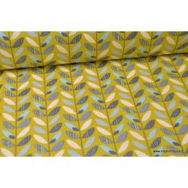 Cretonne coton imprimé feuilles olaf