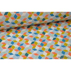 Cretonne coton imprimé carré nano curcuma