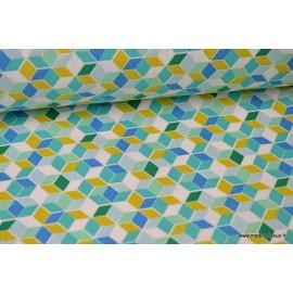 Cretonne coton imprimé carré nano turquoise