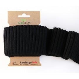Tissu Embouts de manche coton bio noir 110x7cm