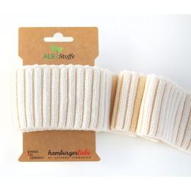Tissu Embouts de manche coton bio ivoire 110x7cm