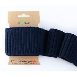 Tissu Embouts de manche coton bio marine 110x7cm