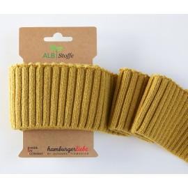 Tissu Embouts de manche coton bio moutarde 110x7cm
