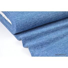 Tissu Maille tricoté Bleu Denim lurex polyester elasthanne
