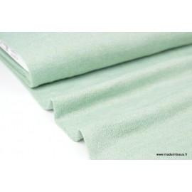 Tissu Maille tricoté Menthe lurex polyester elasthanne