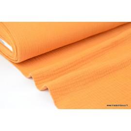 Tissu Double gaze coton safran