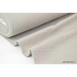 Tissu Double gaze coton beige