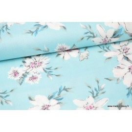 Tissu Viscose aspect Lin fleurs turquoises .x1m
