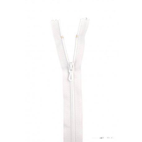 Fermeture éclair en nylon. H 10 cm. col 400 Blanc