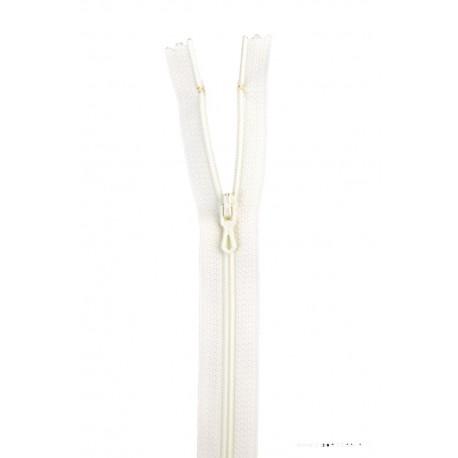 Fermeture éclair en nylon. H 10 cm. col 406 Ivoire