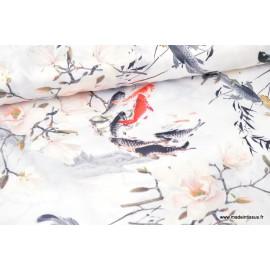 Satin aspect soie imprimé carpe japonaise
