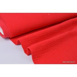 Tissu Double gaze 100% coton rouge.