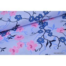 Tissu Popeline coton fleurs japonaise bleu ciel