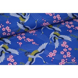 Popeline coton cygognes japonaise bleu