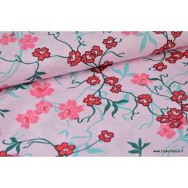 Tissu Popeline coton fleurs japonaise rose