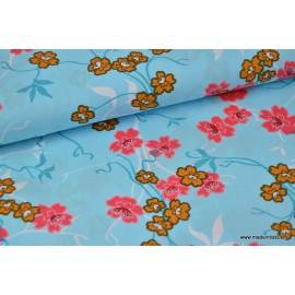 Tissu Popeline coton fleurs japonaise turquoise