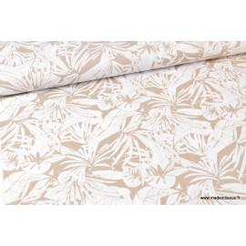 Tissu Viscose aspect Lin feuillage beige et blanc .x1m