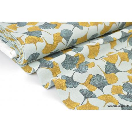tissu lin imprim fleurs de ginkgo moutarde et vert ultra doux grace au lin et la viscose. Black Bedroom Furniture Sets. Home Design Ideas