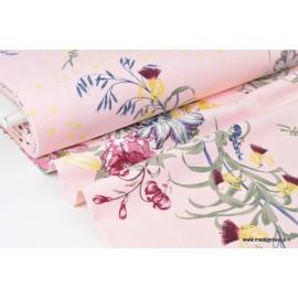 Tissu fluide Coton Lin Viscose imprimé grosses fleurs fond rose