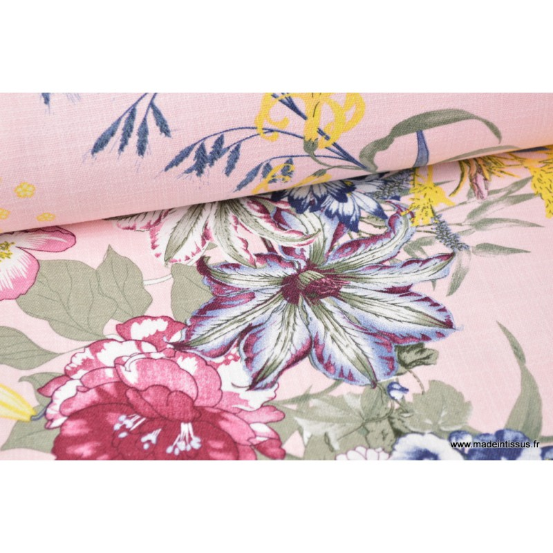 tissu lin imprim fleurs fuchsia sur fond rose ultra doux grace au lin et la viscose. Black Bedroom Furniture Sets. Home Design Ideas