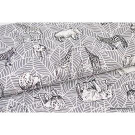 tissu canvas coton imprimé safari