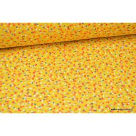 Tissu Cretonne coton imprimé motifs cotillons Curry