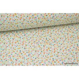 Tissu Cretonne coton imprimé motifs Cotillons Menthe