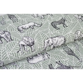 1 coupon de 1.60m de tissu canvas coton imprimé safari