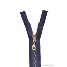 Fermeture éclair en nylon séparable Maille laiton col 570 Bleu marine - Z19